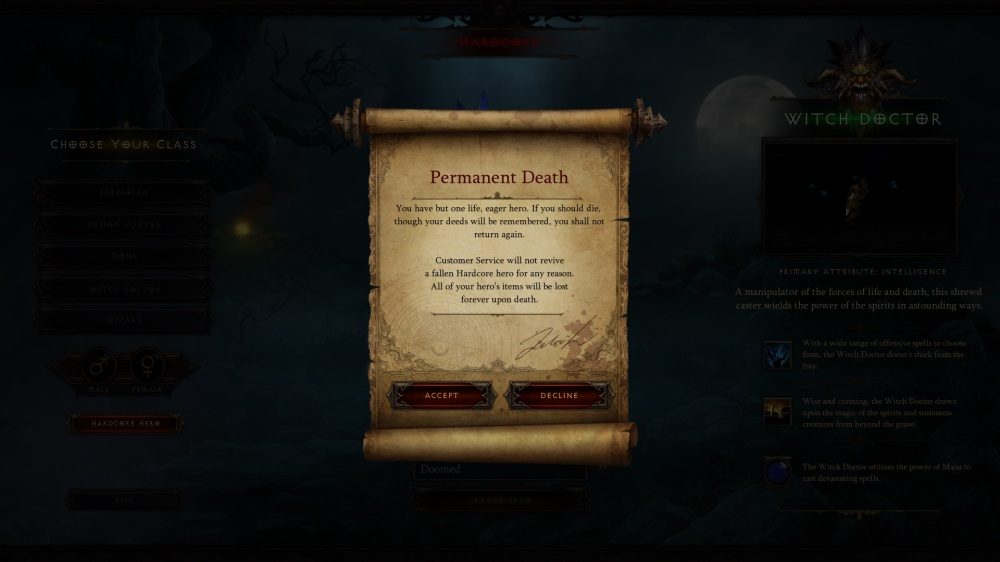 Diablo III - Permadeath is permanent.