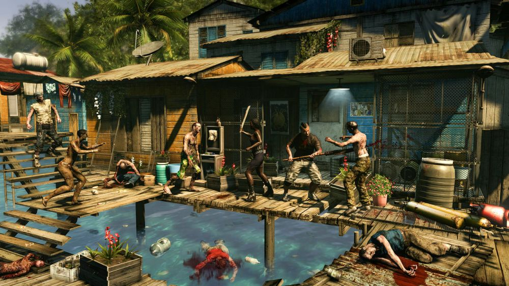 The luxury hotels from Dead Island have been replaced with shantytowns and fishing villages for Dead Island: Riptide.