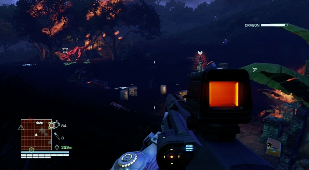 Far Cry 3: Blood Dragon Review - Tag enemies to track their movement.