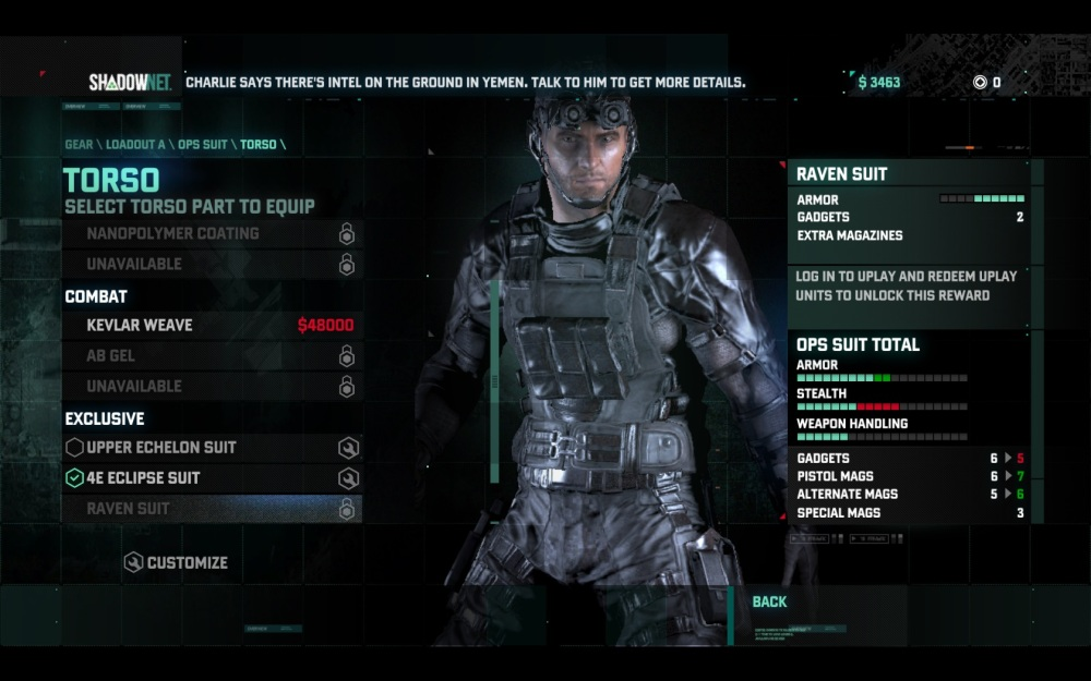 After mission money can be spent on upgrading everything from weapons to the suits Sam wears on missions.