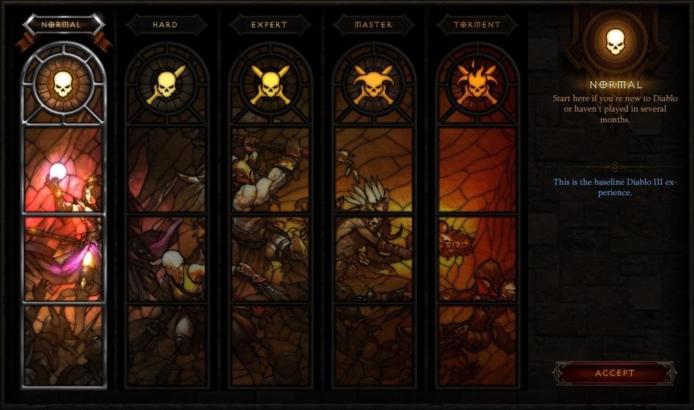 Diablo III: Reaper of Souls - Difficulty Menu