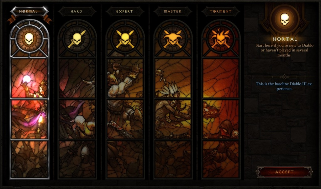 Diablo III: Reaper of Souls - Difficulty Menu