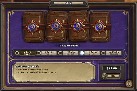 Hearthstone 15 Packs for $19.99